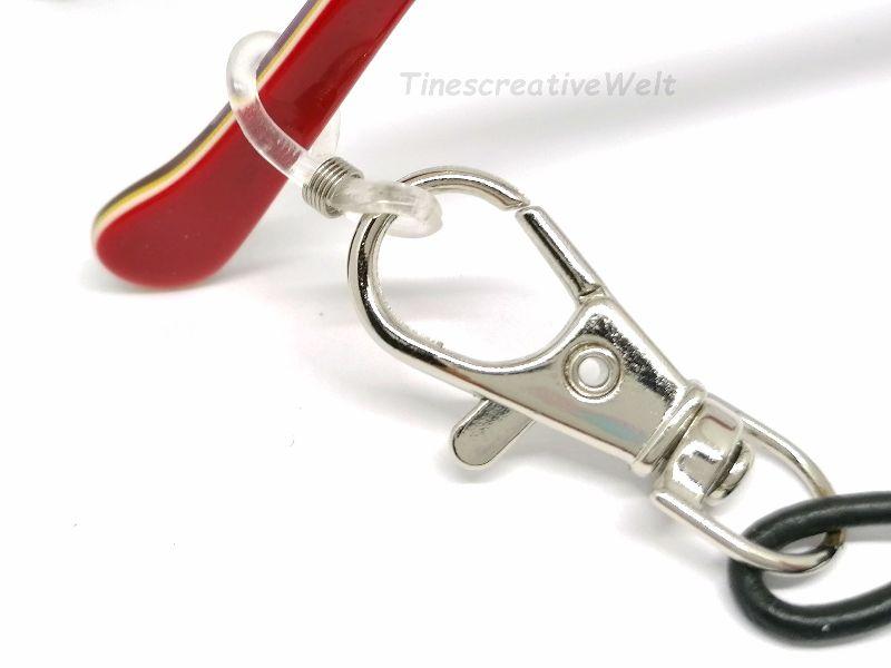 Kleinesbild - Personalisierte Brillenkette, Maskenkette, 2in1, Leder, Holzperlen, Perlen, Maskenband, Halter für Maske, Behelfsmaske, Brillenband