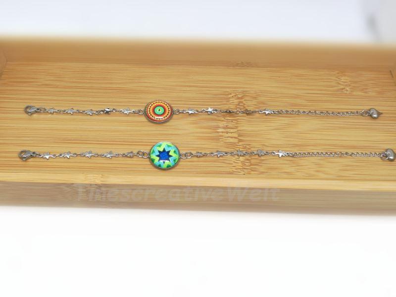 Kleinesbild - Armband Edelstahl, Glascabochon, Stern, Geschenk