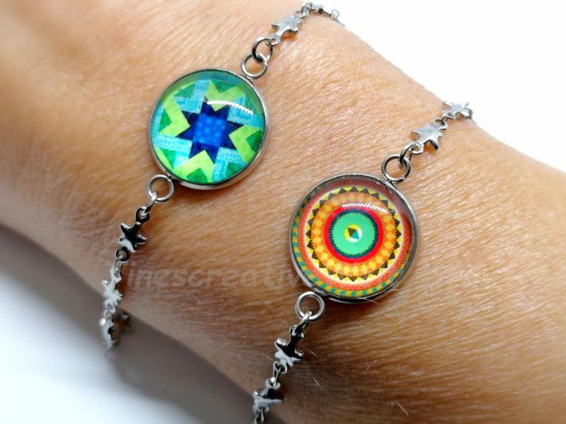 - Armband Edelstahl, Glascabochon, Stern, Geschenk - Armband Edelstahl, Glascabochon, Stern, Geschenk