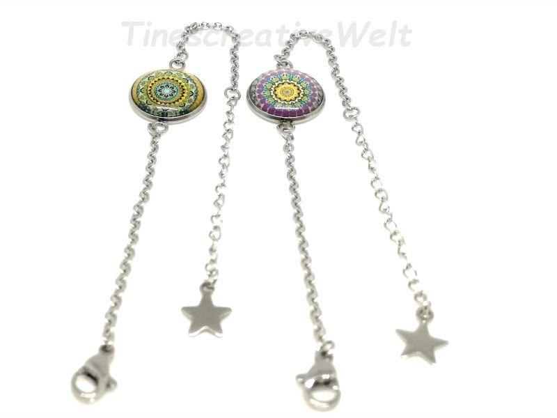Kleinesbild - Armband Edelstahl, Glascabochon, Mandala, Stern, Geschenk