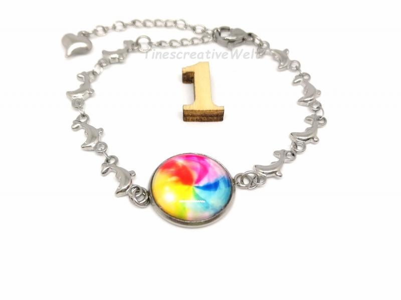 Kleinesbild - Armband Edelstahl, Glascabochon, Delfin, Welle, Herz, Geschenk