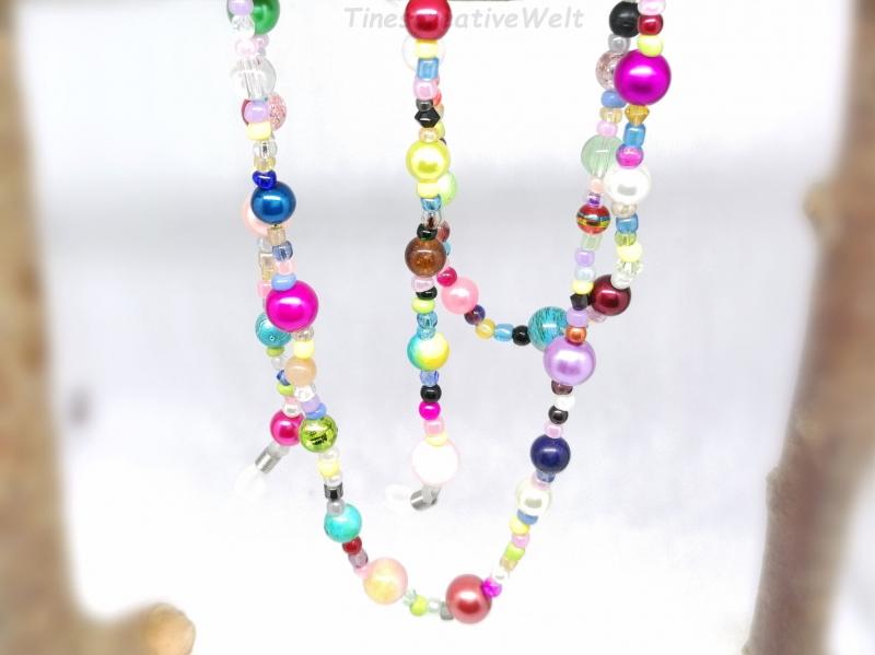 Kleinesbild - Kunterbunte Brillenkette aus Perlen, Glasperlen, Geschenk für Frauen