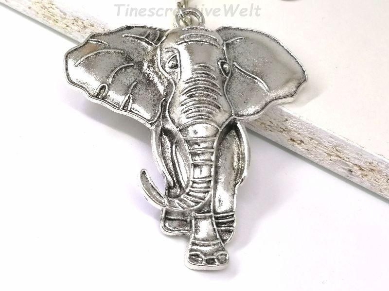 Kleinesbild - Großer Elefant, Schlüsselanhänger, Tier, Glück, Anhänger, Taschenanhänger,  Karabinerhaken mit Ring und Wirbel, Geschenk