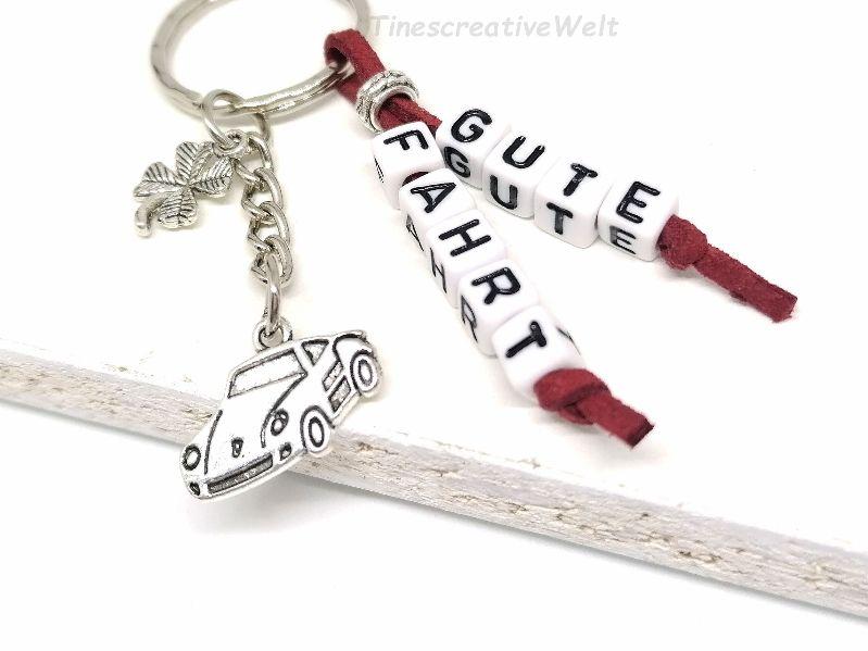 Kleinesbild - Schlüsselanhänger, Auto, Gute Fahrt, Führerschein, Glücksbringer, Kleeblatt, Geschenk