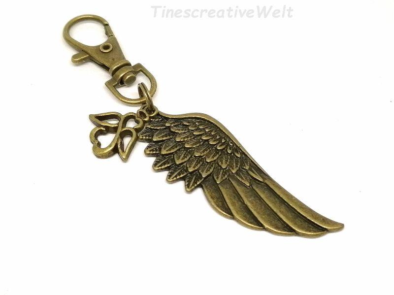Kleinesbild - Anhänger, Engelsflügel, Schutzengel, Taschenanhänger, Glücksbringer, Karabinerhaken mit Wirbel, Geschenk für Männer und Frauen