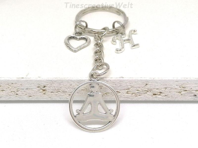 Kleinesbild - Personalisierter Schlüsselanhänger, Yoga, Buddha, Herz, Om, Geschenkidee