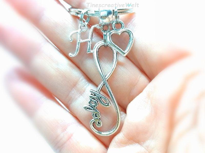 Kleinesbild - Personalisierter Infinity Schlüsselanhänger, Unendlichkeit, Hope, Hoffnung, Herz, Glücksbringer, Taschenanhänger, Geschenk
