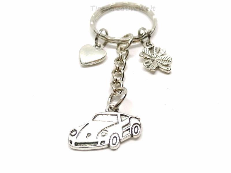Kleinesbild - Schlüsselanhänger, Auto, Gute Fahrt, Führerschein, Herz, Glücksbringer, Kleeblatt, Geschenk