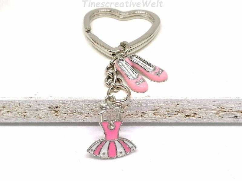 - Schlüsselanhänger, rosa Kleid, rosa Schuhe, Rockabilly, Ballerina, Tanzen, Glücksbringer, Geschenk - Schlüsselanhänger, rosa Kleid, rosa Schuhe, Rockabilly, Ballerina, Tanzen, Glücksbringer, Geschenk