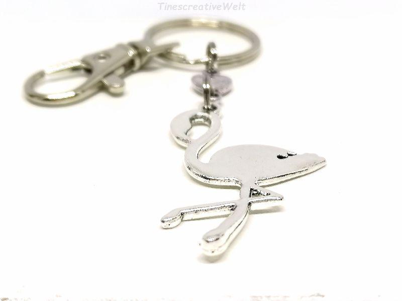 Kleinesbild - Flamingo, Anhänger, Tier, Herz, Schlüsselanhänger, Taschenanhänger, Karabinerhaken mit Ring und Wirbel, Geschenk