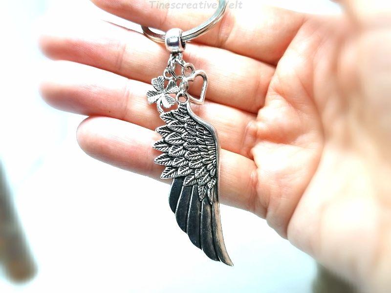 Kleinesbild - Schlüsselanhänger, Engelsflügel, Herz, Kleeblatt, Taschenanhänger, Glücksbringer, Geschenkidee
