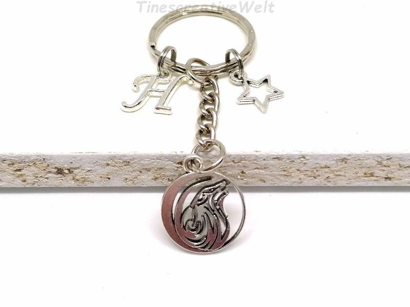 - Personalisierter Schlüsselanhänger, Wolf, Stern, Geschenk für Männer - Personalisierter Schlüsselanhänger, Wolf, Stern, Geschenk für Männer