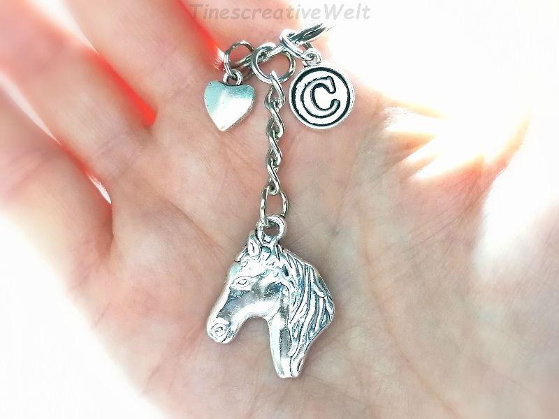 Kleinesbild - Schlüsselanhänger, Pferd, Pferdekopf, Herz, Karabinerhaken mit Wirbel, Glücksbringer, Taschenanhänger, Geschenk