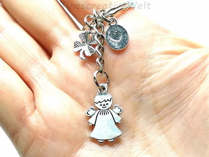 Kleinesbild - Schlüsselanhänger, Schutzengel, Glücksbringer, Kleeblatt, Herz, Dankeschön, Engel, Geschenk