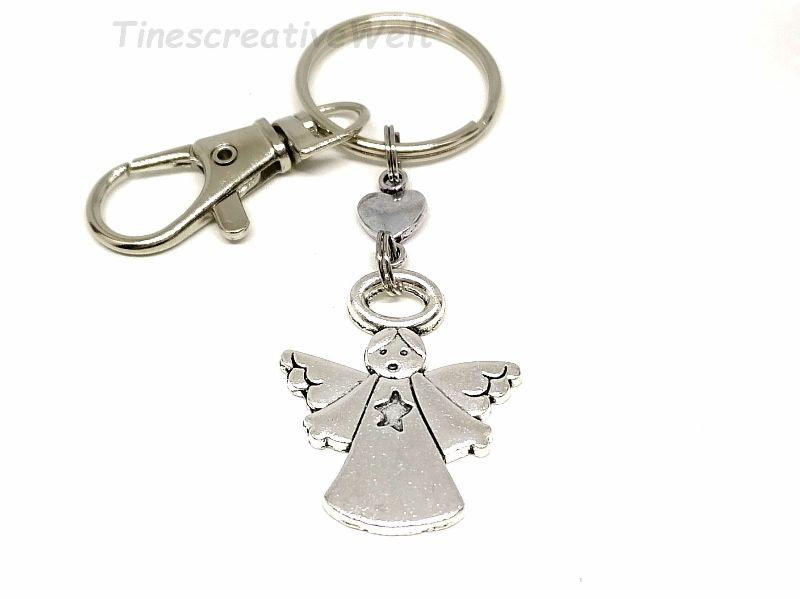 - Schlüsselanhänger, Schutzengel, Glücksbringer, Herz, Taschenanhänger, Karabinerhaken mit Wirbel, Geburtstagsgeschenk - Schlüsselanhänger, Schutzengel, Glücksbringer, Herz, Taschenanhänger, Karabinerhaken mit Wirbel, Geburtstagsgeschenk