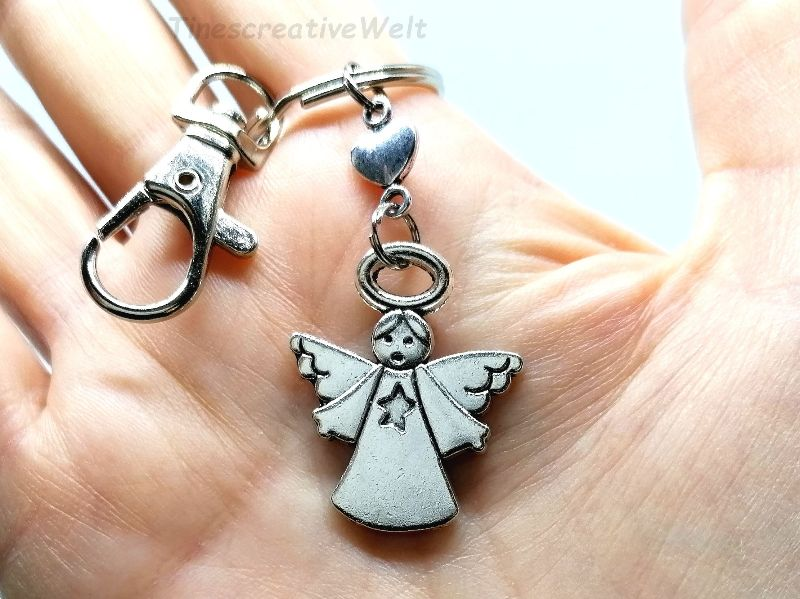 Kleinesbild - Schlüsselanhänger, Schutzengel, Glücksbringer, Herz, Taschenanhänger, Karabinerhaken mit Wirbel, Geburtstagsgeschenk