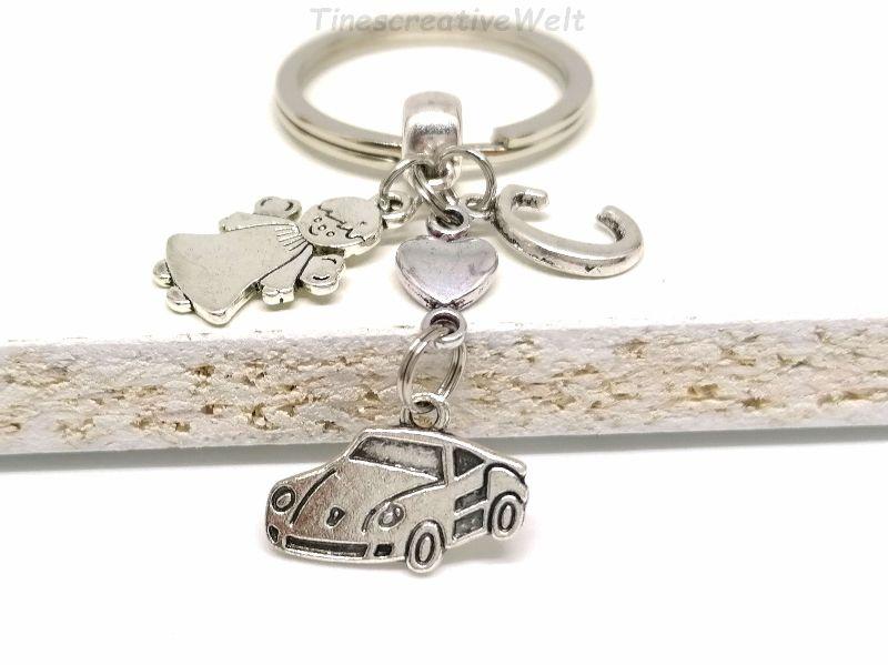 Kleinesbild - Personalisierter Schlüsselanhänger, Auto, Schutzengel, Glücksbringer, Herz, Autoreise, Geschenk