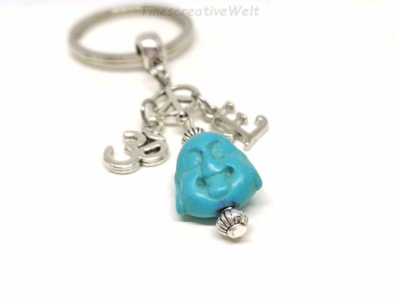 Kleinesbild - Personalisierter Schlüsselanhänger, Buddha, Om, Peace, Boho, Yogaanhänger, Taschenanhänger, Geschenk, VERSCHIEDENE FARBEN
