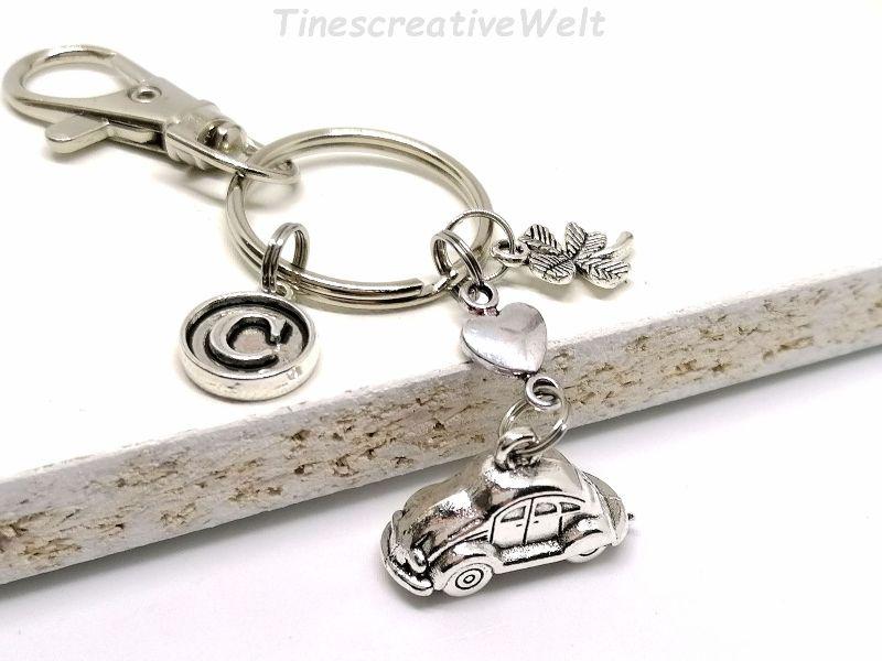 Kleinesbild - Personalisierter Schlüsselanhänger, Auto, 3D, Kleeblatt, Glücksbringer, Karabinerhaken mit Wirbel, Autoreise, Fahranfänger, Geschenk