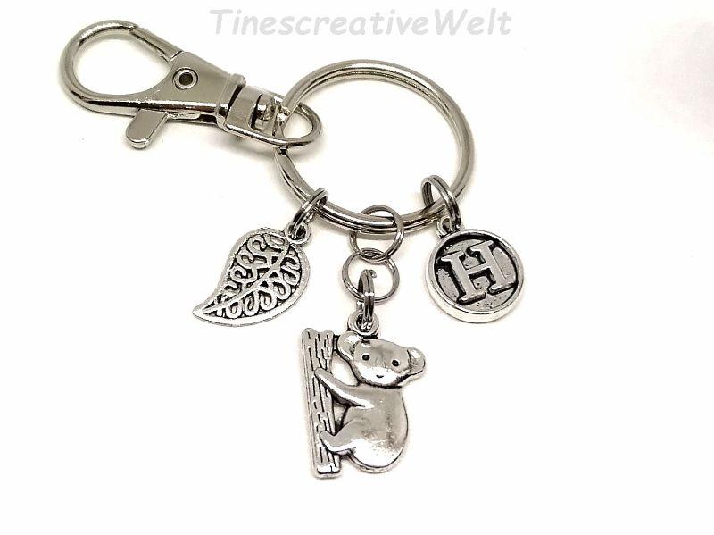 Kleinesbild - Personalisierter Schlüsselanhänger, Koala, Koalabär, Bär, Karabinerhaken mit Wirbel, Taschenanhänger, Geschenk Frauen
