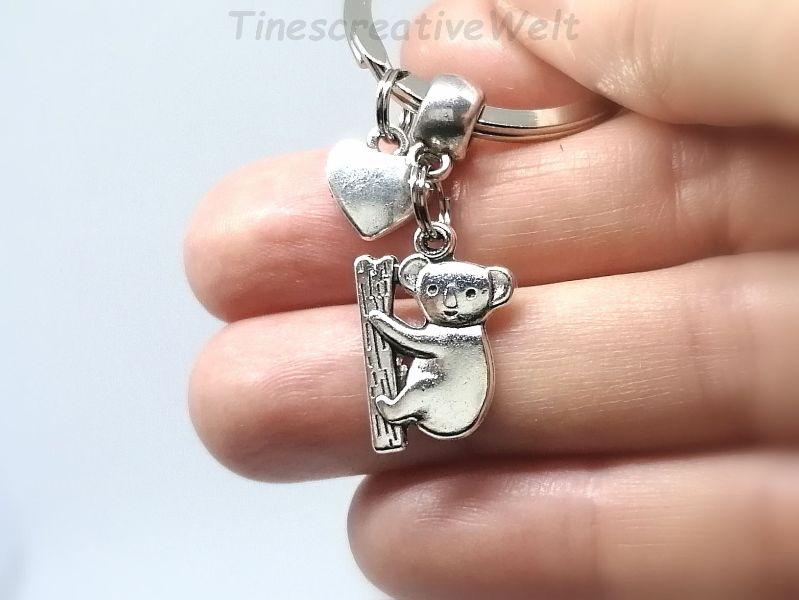 Kleinesbild - Schlüsselanhänger, Koala, Koalabär, Bär, Herz, Taschenbaumler, Geschenk Frauen
