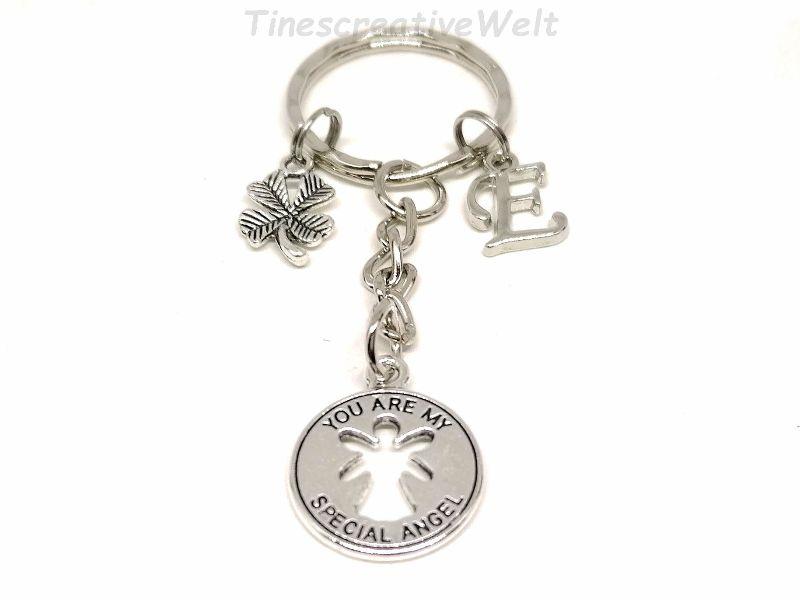 Kleinesbild - Personalisierter Schlüsselanhänger, You are my special Angel, Schutzengel, Kleeblatt, Glücksbringer, Dankeschön, Engel, Geschenk