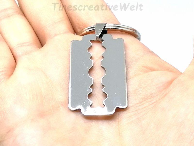 Kleinesbild - Rasierklinge, Edelstahl, Schlüsselanhänger, Geschenk für Männer