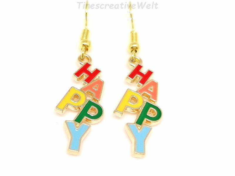 Kleinesbild - Ohrringe, Happy, Emaille, Glücklich sein, Hängeohrringe, Glücksbringer, Geschenk