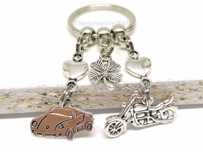 Kleinesbild - Schlüsselanhänger, Motorrad, Auto, fahr vorsichtig, Führerschein, Herz, Kleeblatt, Glücksbringer, Geschenk, Geburtstag