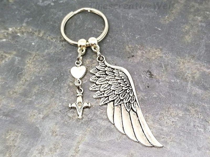 Kleinesbild - Schlüsselanhänger, Engelsflügel, Kreuz, Taschenanhänger, Glücksbringer, Geschenkidee