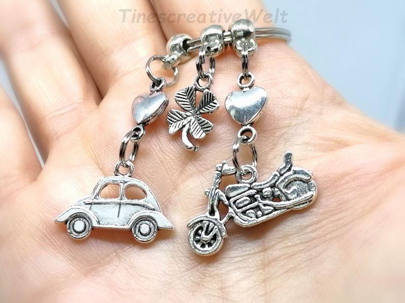Kleinesbild - Schlüsselanhänger, Auto, Motorrad, fahr vorsichtig, Führerschein, Herz, Kleeblatt, Glücksbringer, Geschenk, Geburtstag