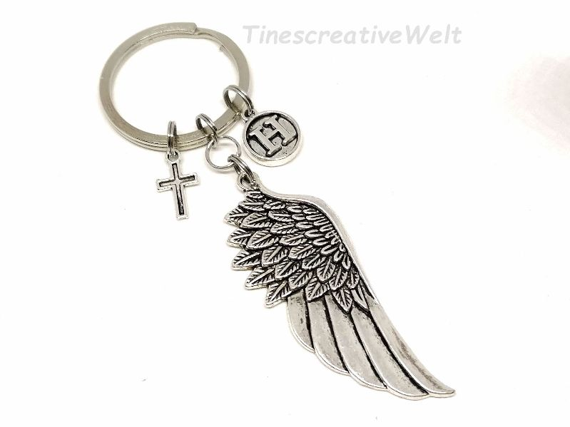 Kleinesbild - Personalisierter Schlüsselanhänger, Engelsflügel, Herz, Taschenanhänger, Glücksbringer, Geschenkidee