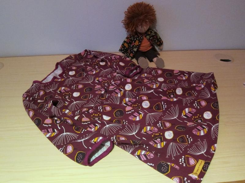 Kleinesbild - Langarm Bio Jersey Kleid Burgunder Blaubeer Traum Größe 128 Herbst Kleid mit langen Armen