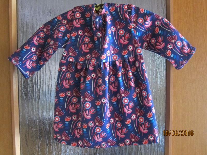 Kleinesbild - Warmes Langarm Bio JerseyTunica Blau pink Pusteblumen Größe 80-85 Herbst top mit langen Armen