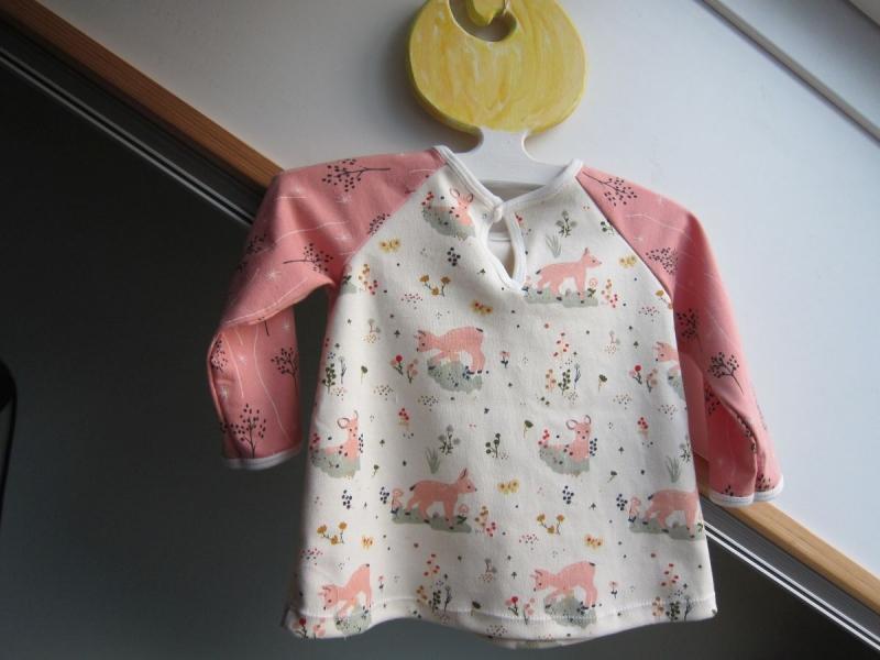 Kleinesbild - Baby rosa Eco Rehkitz Kleidchen, Baby Tunika, T-shirt Kleid in Größe 62-68, verschieden Größen möglich