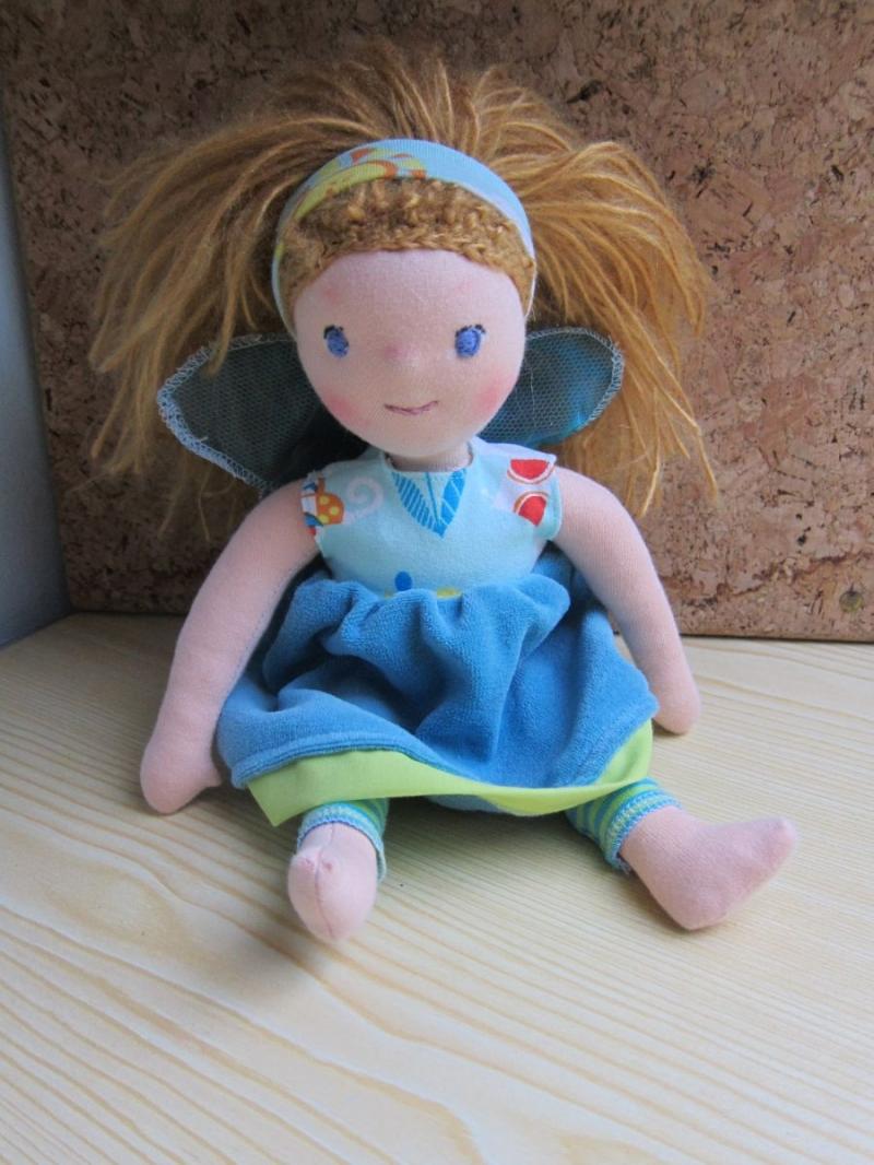 - Puppe Arielle - Wasserelfe, Fee, Elfe, Handgenähte Stoff Puppe nach Waldorf stil - Puppe Arielle - Wasserelfe, Fee, Elfe, Handgenähte Stoff Puppe nach Waldorf stil