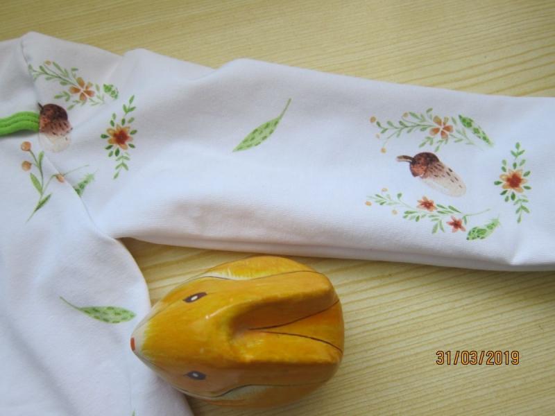 Kleinesbild - Jersey T-shirt langarm weiß Bio Jersey Hase Groeße 80 Ostern Frühling
