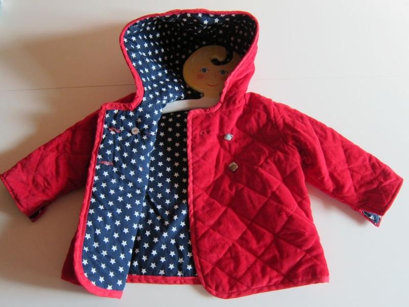 Kleinesbild - Kord Kapuzen Jacket mit Sternen Futter in Tomaten Rot, Marine Blau, Mantel, Buben oder Mädchen, gr 80-86