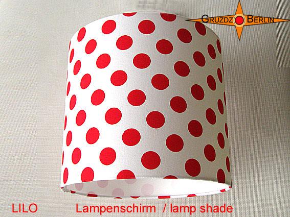 - Lampenschirm LILO Rot Weiss gepunktet D 25 cm - Lampenschirm LILO Rot Weiss gepunktet D 25 cm