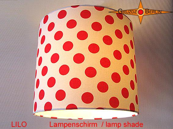Kleinesbild - Lampenschirm LILO Rot Weiss gepunktet D 25 cm