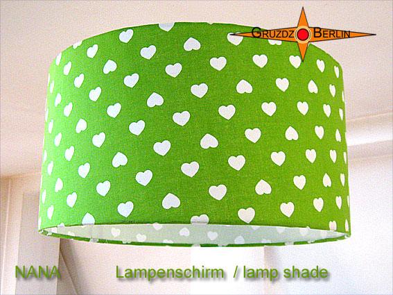 - Grüner Kinderlampenschirm NANA Ø40 cm mit Herzen - Grüner Kinderlampenschirm NANA Ø40 cm mit Herzen