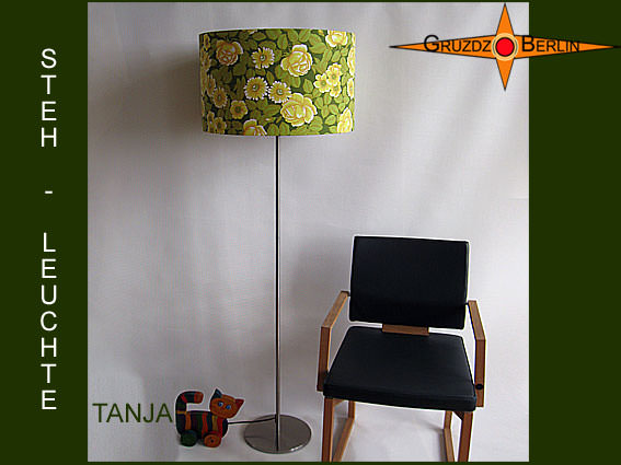 Kleinesbild - Grüne Stehlampe TANJA im Vintagedesign mit Blüten