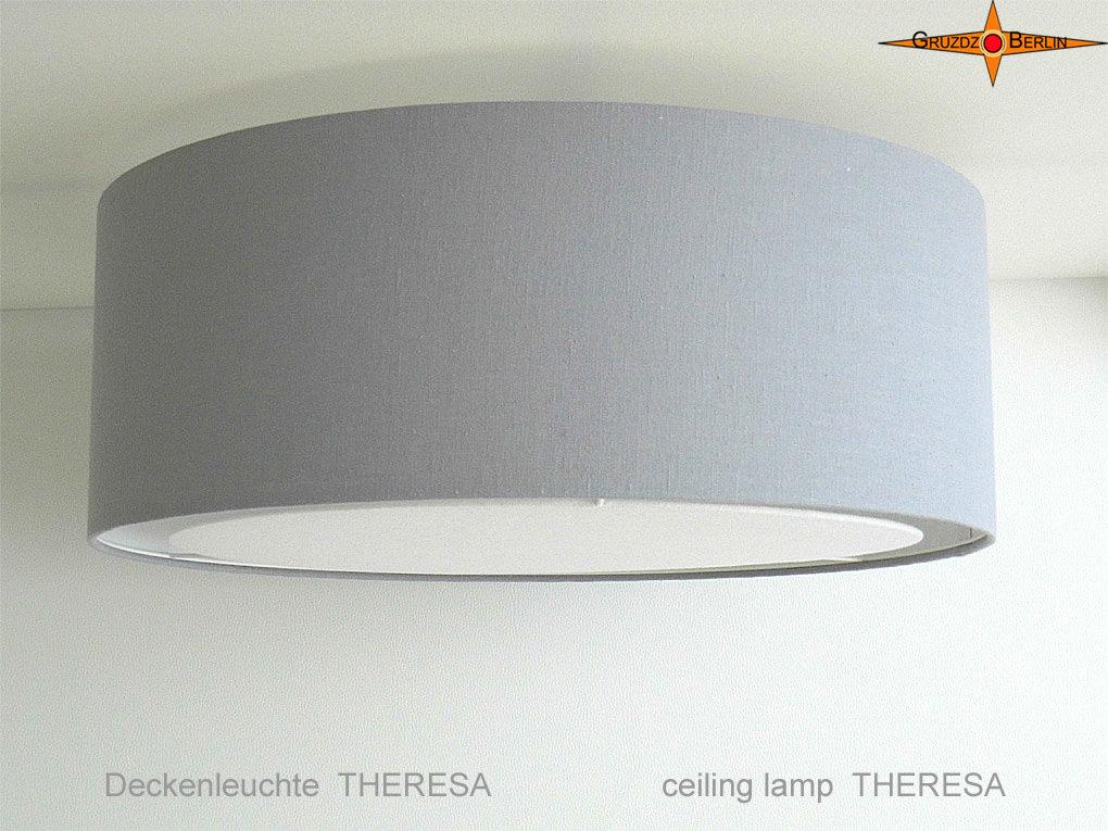 Kleinesbild - Graue Deckenlampe THERESA Ø45 cm mit Lichtrand Diffusor