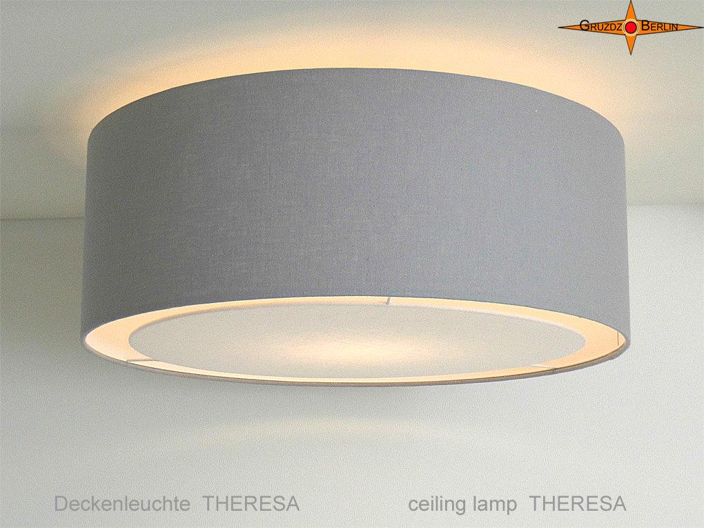 - Graue Deckenlampe THERESA Ø45 cm mit Lichtrand Diffusor - Graue Deckenlampe THERESA Ø45 cm mit Lichtrand Diffusor