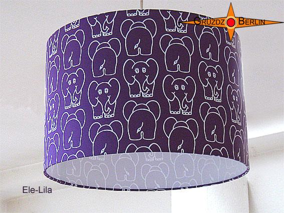 Kleinesbild - Kinderlampenschirm mit Elefanten auf LIla ELE LILA  Ø35 cm