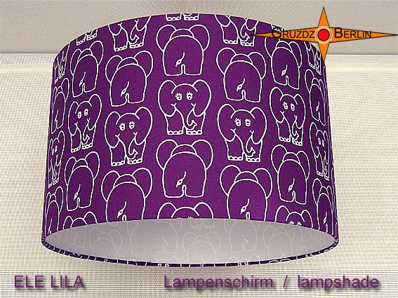 - Kinderlampenschirm mit Elefanten auf LIla ELE LILA  Ø35 cm  - Kinderlampenschirm mit Elefanten auf LIla ELE LILA  Ø35 cm