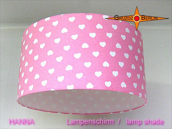 - Rosa Lampenschirm mit Herzen HANNA Ø40 cm  - Rosa Lampenschirm mit Herzen HANNA Ø40 cm