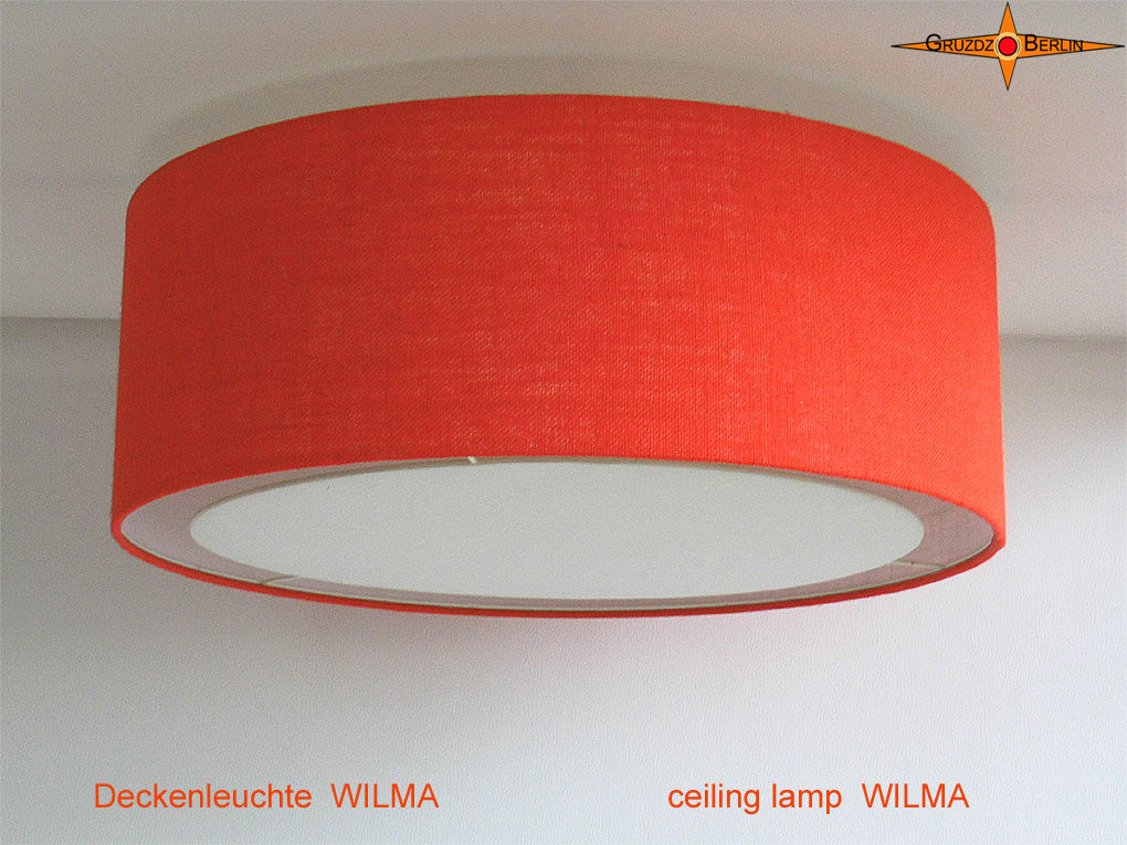 Kleinesbild - Deckenlampe aus oranger Jute WILMA Ø50 cm mit Lichtrand Diffusor