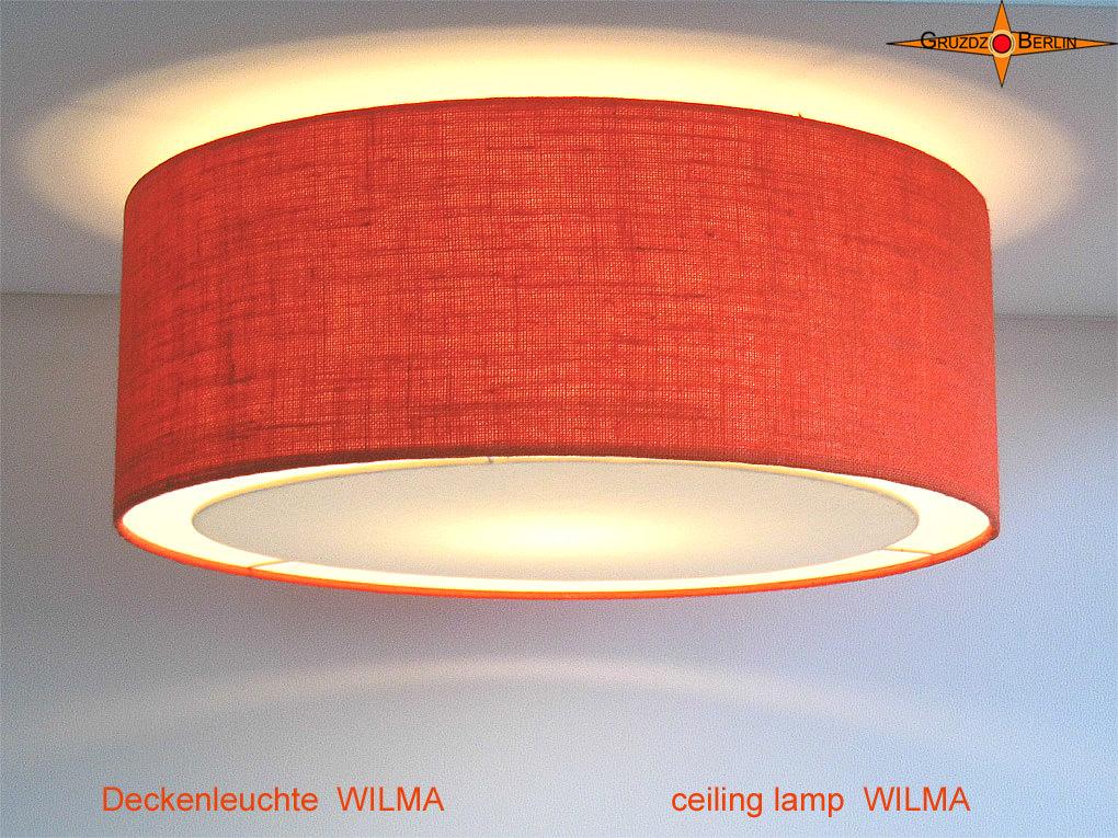 - Deckenlampe aus oranger Jute WILMA Ø50 cm mit Lichtrand Diffusor - Deckenlampe aus oranger Jute WILMA Ø50 cm mit Lichtrand Diffusor