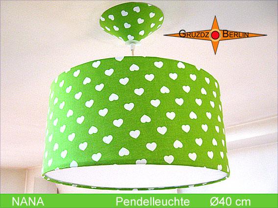 Kleinesbild - Grüne Lampe mit Herzen NANA Ø40 cm Kinderlampe